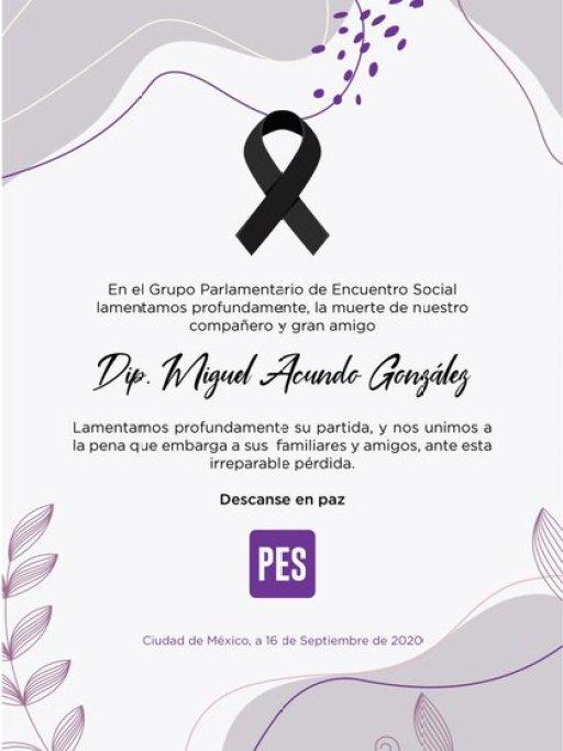 Acundo, quien representaba al central estado de Puebla por el conservador Partido Encuentro Social (PES), estaba hospitalizado desde el 22 de agosto en Ciudad de México, donde murió por las complicaciones de la enfermedad.