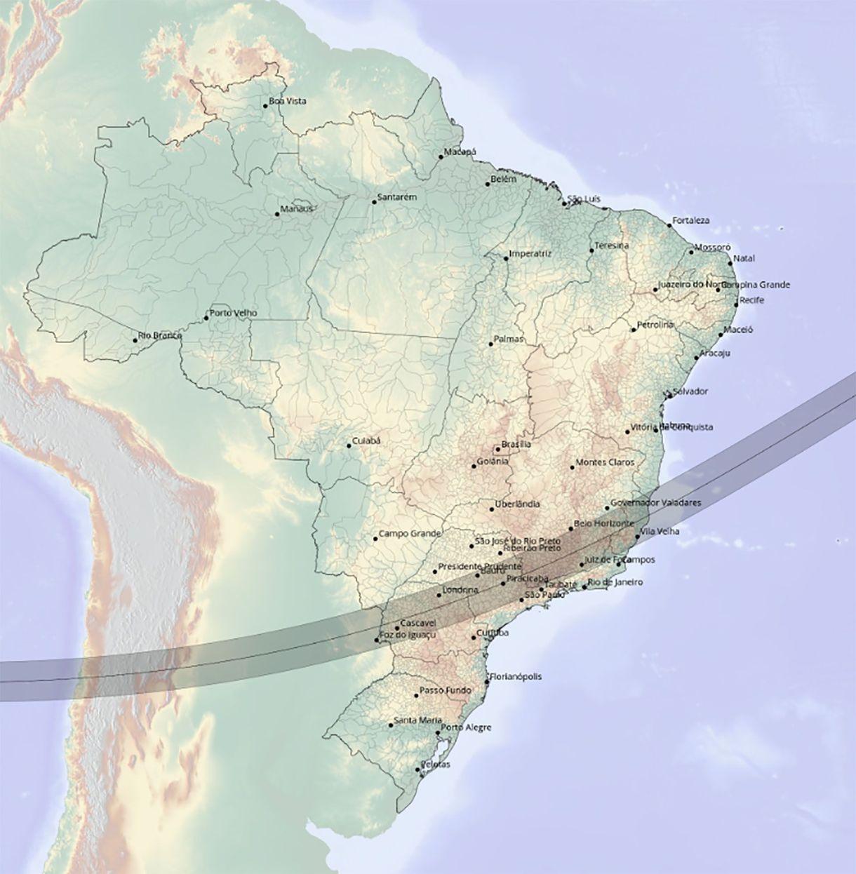 El mapa del eclipse solar total del año 1966