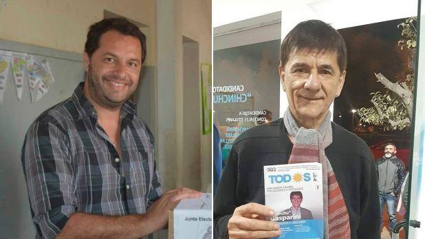 """Juan Cravero, de Juntos por el Cambio, y Juan Carlos """"Chinchu"""" Gasparini, candidato del Frente de Todos."""