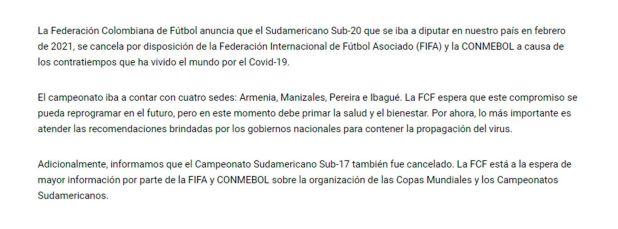 Comunicado suspensión Sudamericano Sub 20 de Colombia