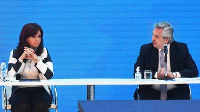 Alberto Fernández y Cristina Fernández de Kirchner en el Museo del Bicentenario