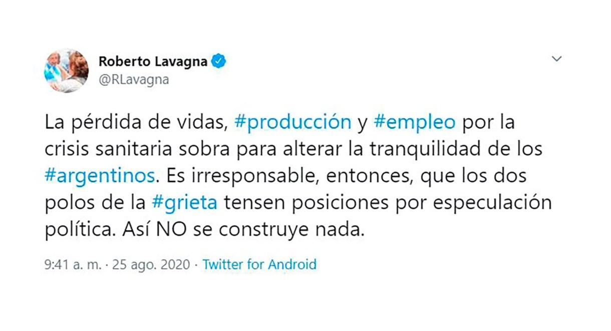 Tweet de Roberto Lavagna