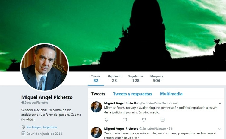 El perfil del falso Pichetto de Twitter