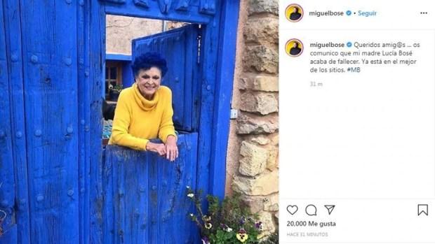 El mensaje de Miguel Bosé para confirmar la muerte de su madre