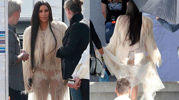 """Ell revelador atuendodeKim Kardashian en el set de """" Ocean's Eigh"""""""