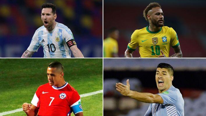 Lionel Messi, Neymar (Brasil), Alexis Sánchez (Chile) y Luis Suárez (Uruguay)