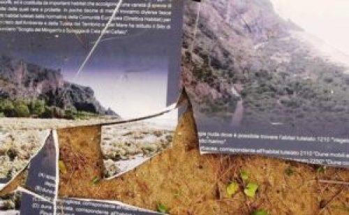 Anche della cartellonistica informativa gettata tra indiscriminatamente tra i rifiuti