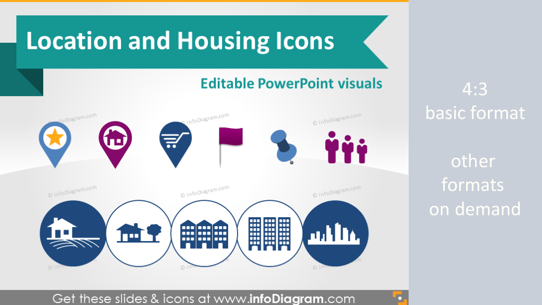 Location Map Marker Building House Logistics Symbols