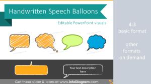 HandWritten Speech Balloons Bubbles shapes Sketched PowerPoint Clipart
