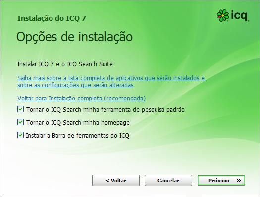 tela de instalação do icq 7 com porcaria escondida