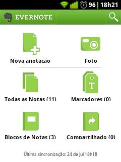 screenshot do aplicativo evernote no Android