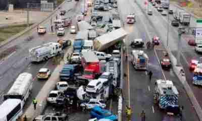 Choque de 100 autos en autopista Texas EEUU