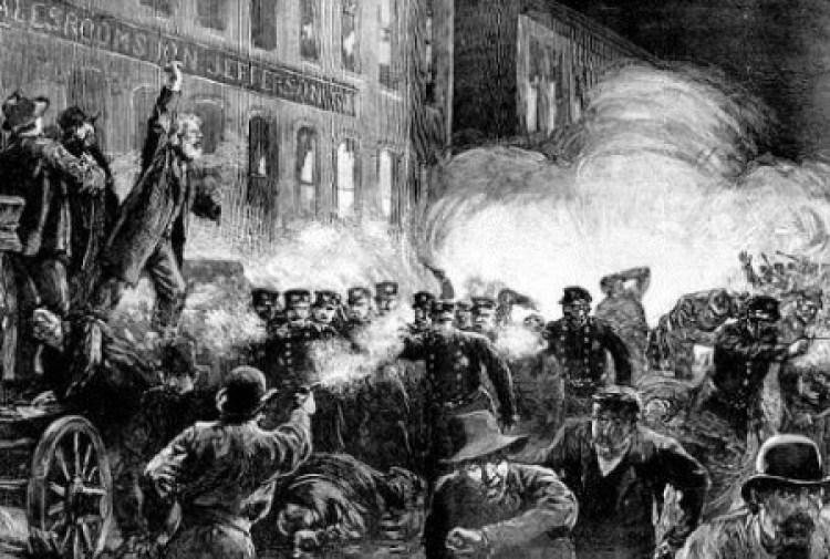 Revolta de Haymarket. Ilustração de Thure de Thulstrup (1886).