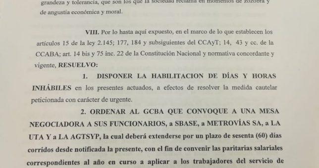 AHORA: Una cautelar ordena al Gobierno porteño discutir la paritaria con los metrodelegados
