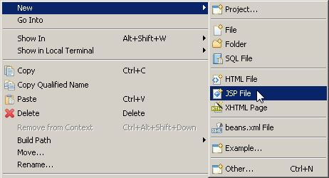 Menú New -> JSP File