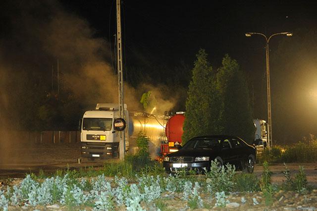 Wyciek kwasu azotowego - Trwa akcja Straży Pożarnej ( zobacz zdjęcia )
