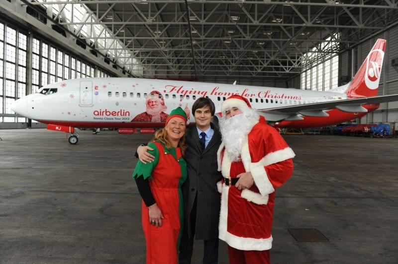 Pierwsze lądowanie samolotu świątecznego airberlin w Krakowie