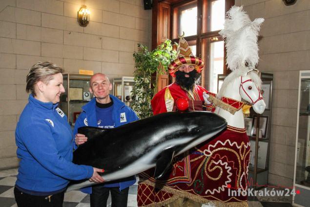 W środę, 4 marca, morświn spotkał się w Magistracie z ... Lajkonikiem. Fot. Jan Graczyński / INFO Kraków24