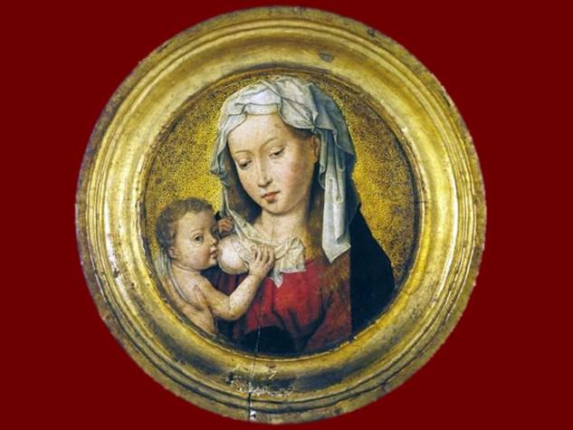 Hans Memling, Matka Boska karmiąca, 1480, olej na desce, Museum Van der Berg w Antwerpii