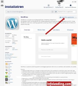 Installing WordPress application