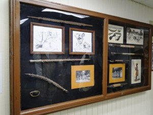 A panel of tools and related illustrations in the Alele Museum. Photo: Karen Earnshaw