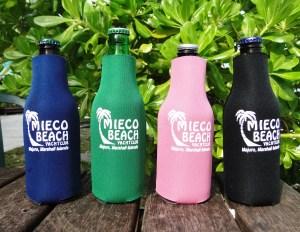 Handy dandy Mieco Beach Yacht Club beer coozies. Photo: Karen Earnshaw