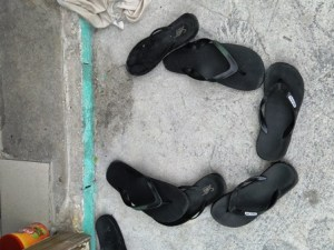 Zories, flip-flops, thongs... whatever you call them, they're the footwear for Majuro. Photo: Karen Earnshaw