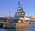 The private yacht Triton flies the RMI flag and has its home port as Bikini. Photo: Unknown