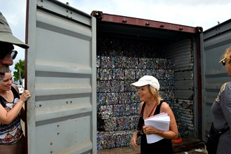Aluminum cans compressed and stacked inside a container to be shipped off-island. Photo: Karen Earnshaw