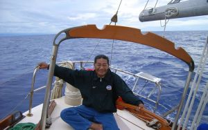 The late Korent Joel pictured on a navigation teaching trip in the mid-2000s in the Marshall Islands. Mr Joel was one of only a handful of Marshall Islanders who still knew traditional wave and star navigation. Photo: Alson Kelen