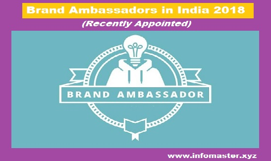 List of Recently Appointed Brand Ambassadors in India 2018