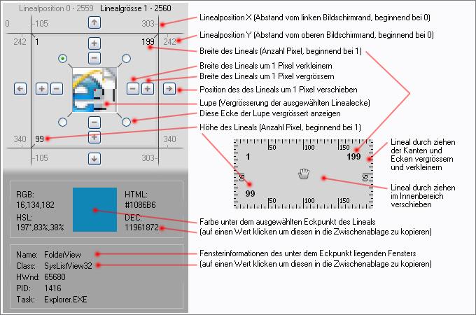 Desktop-Lineal Screen Ruler 2D