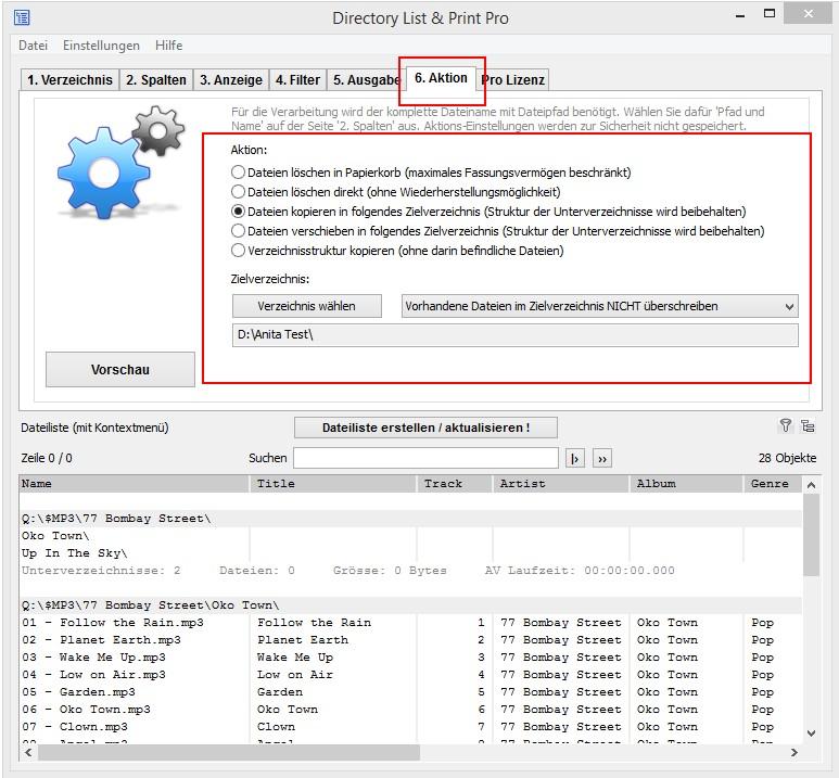 MP3-Liste kopieren, verschieben und löschen