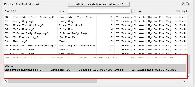 Dateitotale der MP3-Liste anzeigen