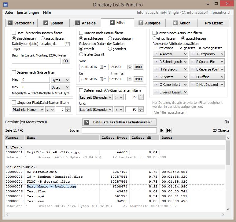 Mit Filtermöglichkeiten die gewünschte Dateiliste ersrtellen