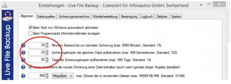 Einstellungen Live File Backup