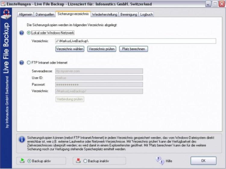 Sicherungsverzeichnis unter Live File Backup