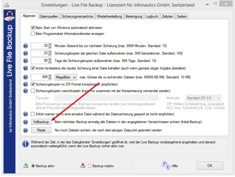 Vollbackup mit Live File Backup