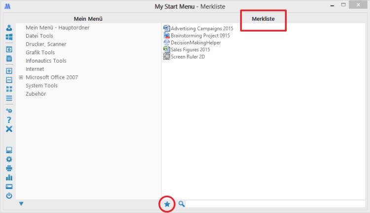 Merkliste in My Start Menu für Windows
