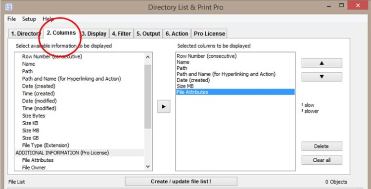 File Lists with Directory List & Print