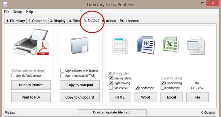 Choose the output format of your directory and folder listing