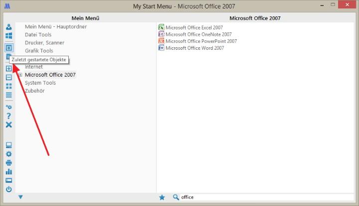 Zuletzt gestartete Anwendungen und zuletzt geöffnete Dokumente im Startmenü