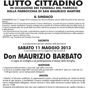 Don Maurizio Barbato, i funerali sabato 11 Maggio. Proclamato il lutto cittadino