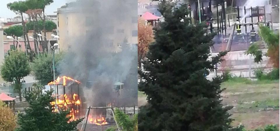 Grumo Nevano, brucia per l'ennesima volta il parco giochi. Atto vandalico che non deve restare impunito