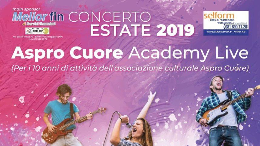Frattamaggiore, concerto dell'estate di Aspro Cuore Academy Live