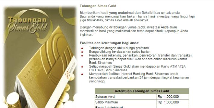 Tabungan Simas Gold Bank Sinarmas
