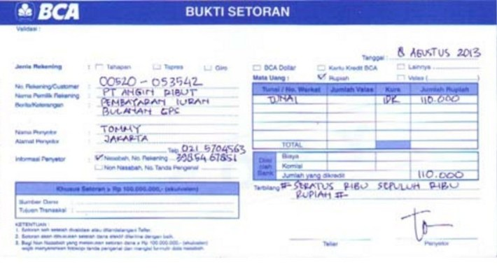 Slip Setoran dan Transfer Bank BCA