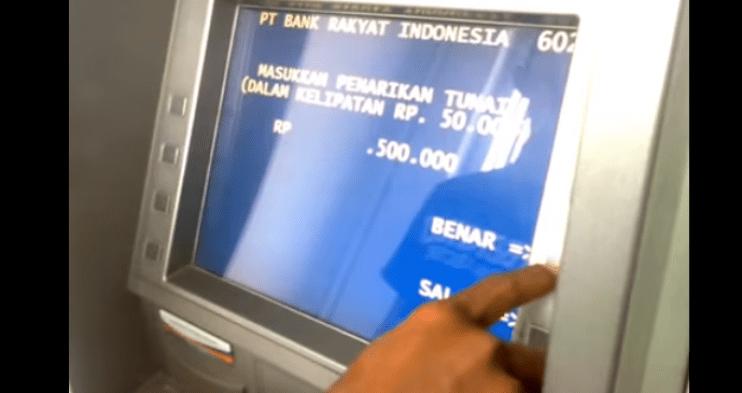 Ambil Uang 500 Ribu lewat ATM BRI