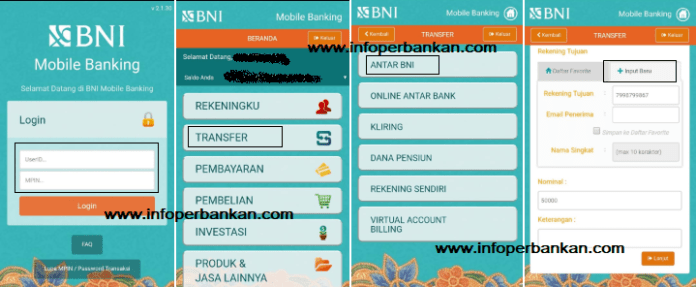 Transfer BNI lewat M Banking