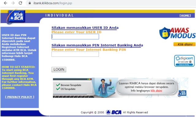 Klikbca Individual Internet Banking Bank Bca